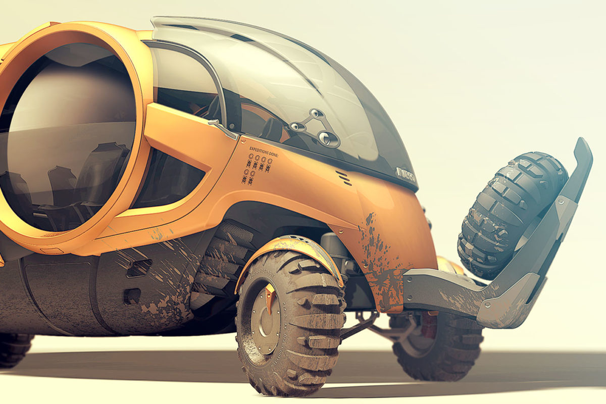 Futuristic Overland Truck for touristic overland expeditions and adventure travels Designed by Hamid Bekradi