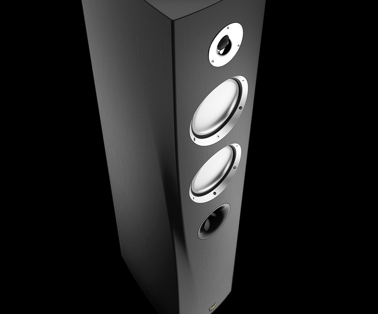 Floor standing speakers designed by Hamid Bekradi, using carbon fiber