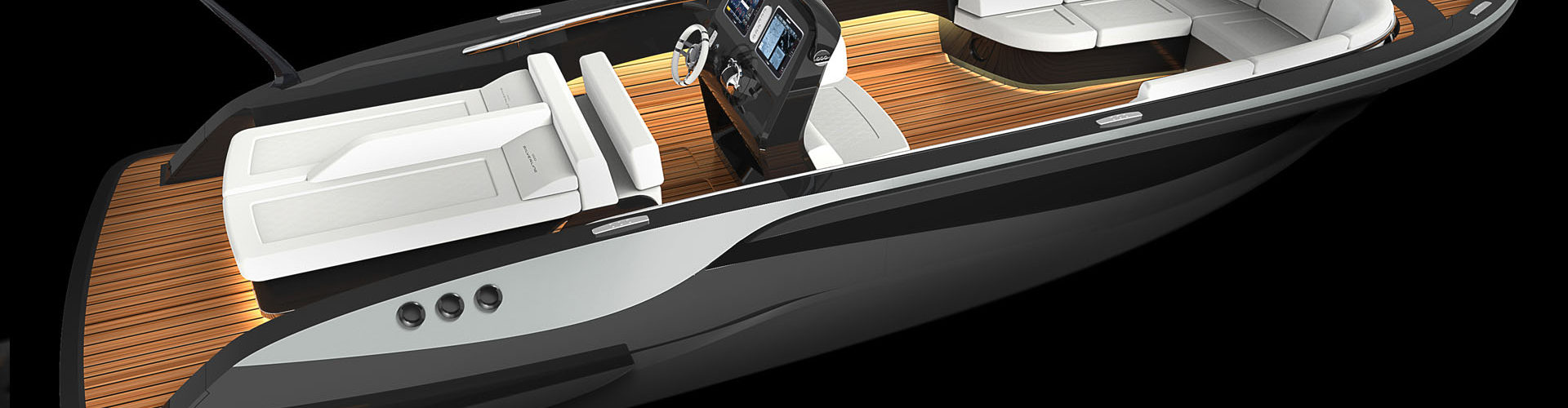 Tender boat Silverline designed by visionary yacht designer Hamid Bekradi